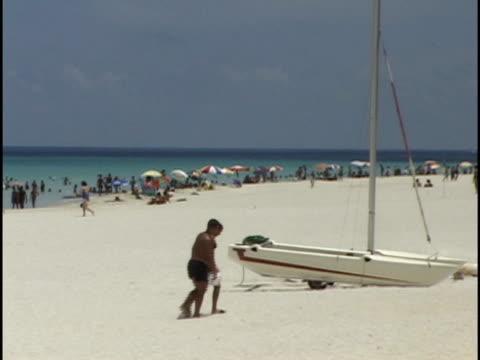 ms, people on varadero beach, havana, cuba - varadero beach stock videos and b-roll footage