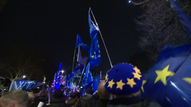 people outside houses of parliament in westminster cheering at the result of the no deal brexit vote - politik und regierung stock-videos und b-roll-filmmaterial