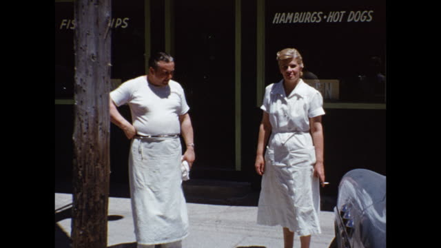 1952 ms tu td people outside hunt's coffee bar / grand bend, ontario, canada - three quarter length stock videos & royalty-free footage