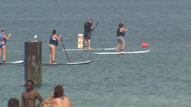wgn people paddle boarding on lake michigan at north avenue beach on august 27 2013 in chicago illinois - seeufer stock-videos und b-roll-filmmaterial