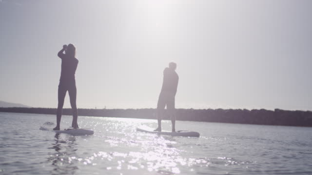 People paddleboard on summer day, slow motion