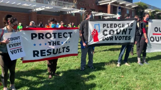 people participate in a protest in support of counting all votes as the election in pennsylvania is still unresolved on november 04, 2020 in... - counting stock videos & royalty-free footage