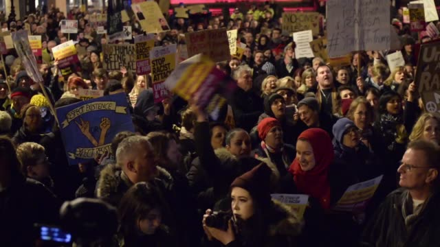 People participate in an antiTrump 'Muslim Ban' demonstration on Monday Jan 30 2017 in Manchester United Kingdom The demonstration which happened in...