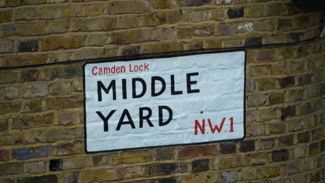 People pass in front of Middle Yard street sign in Camden Market, London