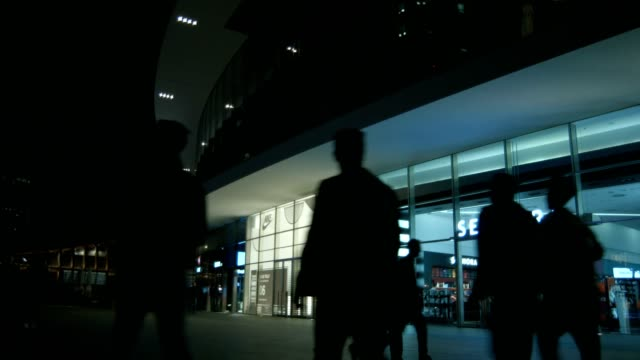 People passing by in front of a shopping center at night