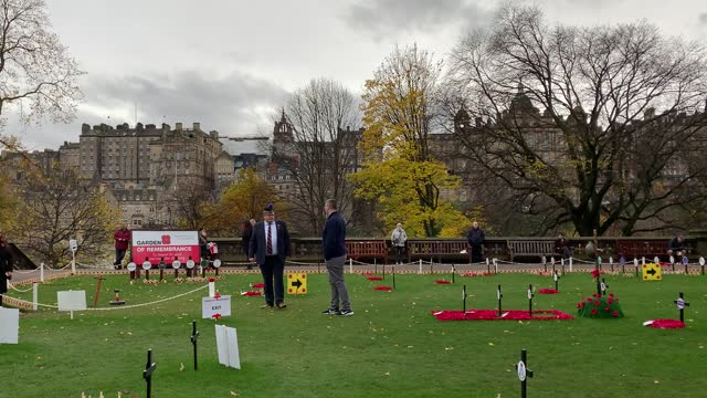 people pay their respects on armistice day at the garden of remembrance in edinburgh to commemorate those who lost their lives in the combat. - armistice stock videos & royalty-free footage
