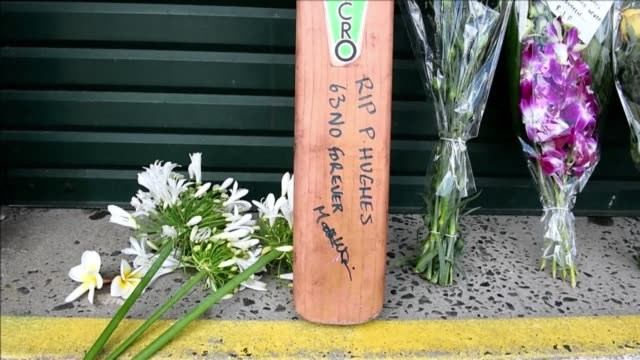 people pay tribute to phillip hughes at the entrance of sydney cricket ground following the death of the australian batsman - hitting stock videos & royalty-free footage