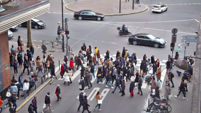people. pedestrian. conceptual view. traffic. car. aerial. paris - pedestrian stock videos & royalty-free footage
