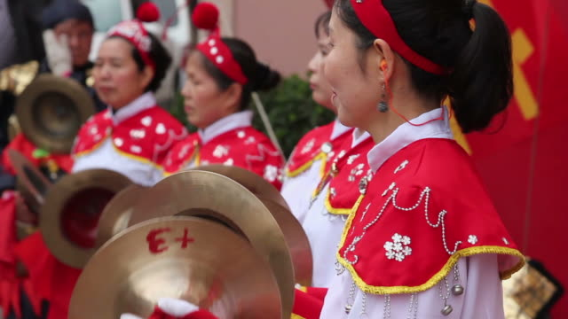 ls cu people performing gongs with costumes/xian,shaanxi,china - only mid adult women stock videos and b-roll footage