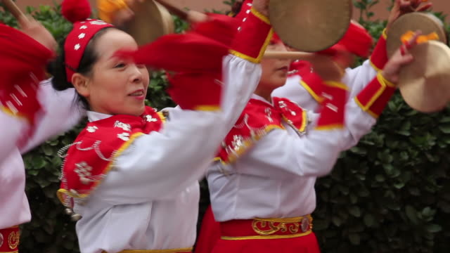 ls cu pan people performing gongs with costumes/xian,shaanxi,china - only mid adult women stock videos and b-roll footage