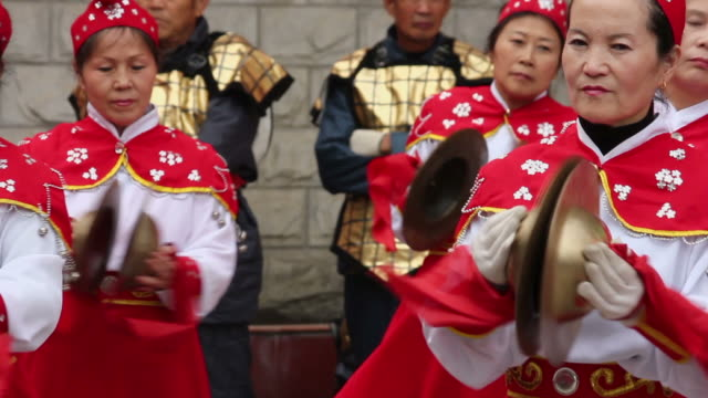 ls cu pan people performing gongs with costumes/xian,shaanxi,china - only mid adult women stock videos & royalty-free footage
