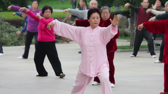 vídeos y material grabado en eventos de stock de ls people performing tai chi  in city wall park/xian,shaanxi,china - cultura china
