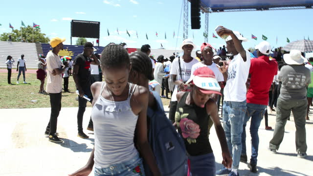 people play music and dance during the celebration of the 29th anniversary of liberation of namibia, at the independence stadium, in windhoek,... - focus on background stock videos & royalty-free footage