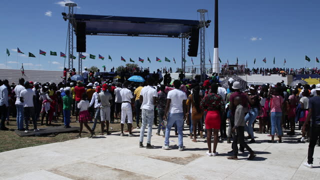people play music during the celebration of the 29th anniversary of liberation of namibia, at the independence stadium, in windhoek, namibia, on... - focus on background stock videos & royalty-free footage