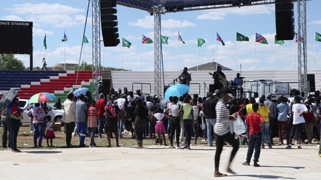 people play music during the celebration of the 29th anniversary of liberation of namibia, at the independence stadium, in windhoek, namibia, on... - 映像技法点の映像素材/bロール