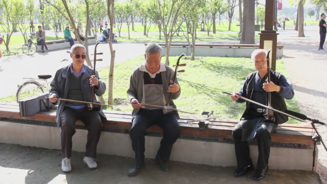 ms people play traditional musical instruments in park/xian,shaanxi,china - only mature men stock videos & royalty-free footage