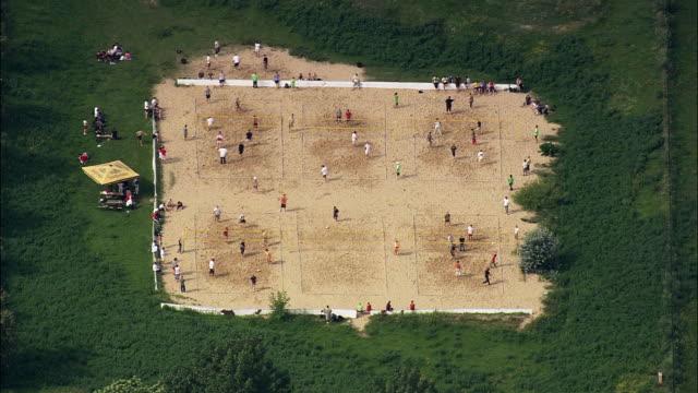 AERIAL People playing beach volleyball, Berlin, Brandeburg, Germany