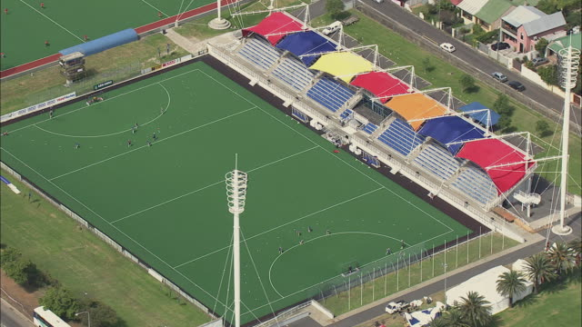 aerial people playing field hockey, cape town, western cape, south africa  - field hockey stock videos and b-roll footage