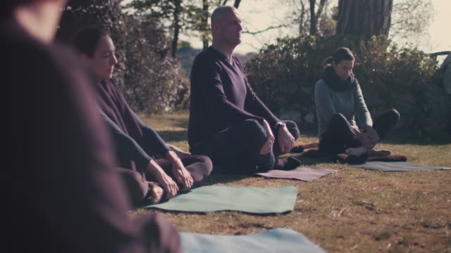 vidéos et rushes de people practicing yoga outside - zen