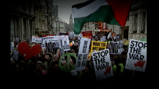people prepare for tuc demonstration against government cuts graphicised sequence 'stop the war' demonstrators march through centre of london in 2003 - iraq war 2003 2011 stock videos & royalty-free footage