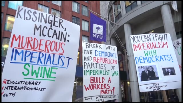 people protest against the visit of former secretary of state and national security advisor henry kissinger for the talk series 'in conversation with... - new york university stock videos & royalty-free footage
