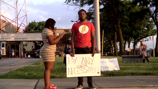 People protest in Chicago after the video Alton Sterling being killed by the Baton Rouge Police Department was released