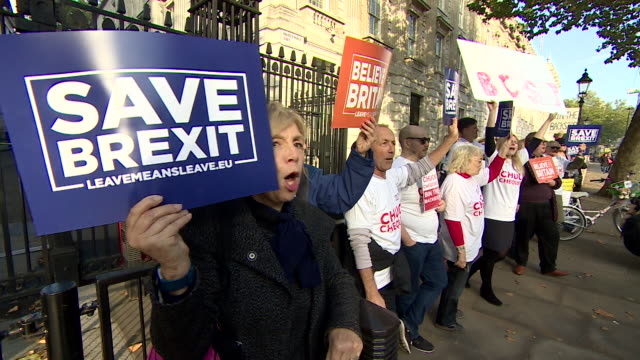 people protesting against theresa may's chequers brexit proposal - placard stock videos & royalty-free footage