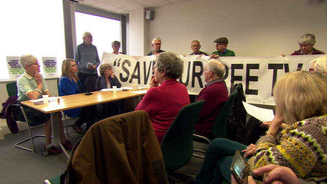 People protesting during a meeting at BBC Broadcasting House over the scrapping of the free license fee for over75's