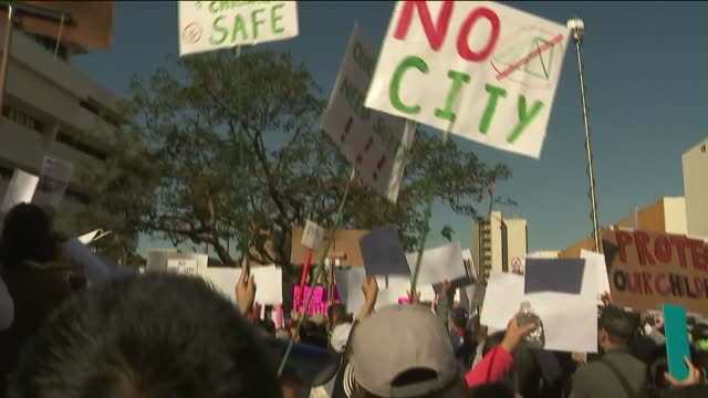 ktla people protesting 'tent city' proposal plan in santa ana - housing difficulties stock videos & royalty-free footage