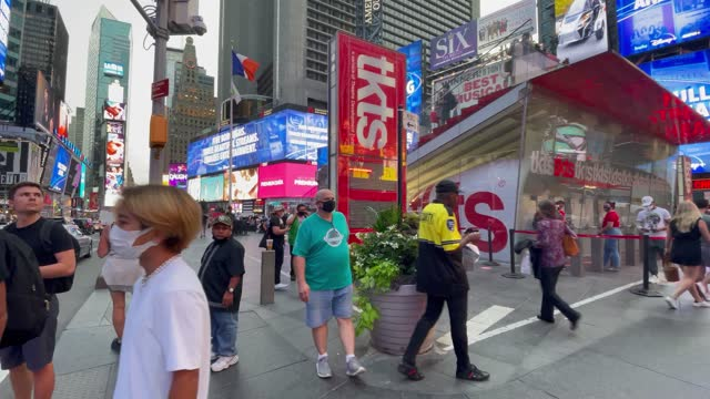 people purchase tickets at the reopened tkts booth for broadway shows in times square on september 14, 2021 in new york city. major broadway shows... - broadway manhattan stock videos & royalty-free footage