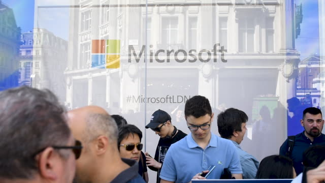 people queue outside the microsoft store prior to opening on july 11 2019 in london england microsoft opened their first flagship store in europe... - xbox stock videos & royalty-free footage