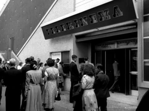 people queue to enter the telekinema exhibition at the festival of britain 1951 - festival of britain stock videos & royalty-free footage