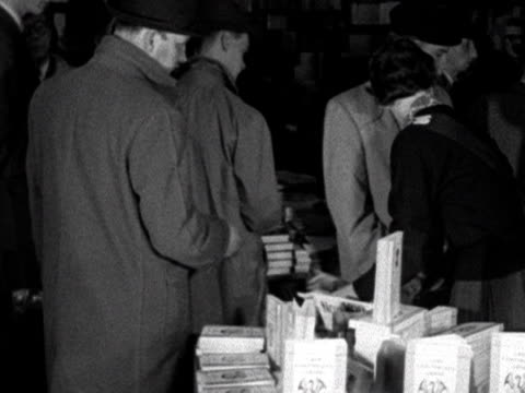 people queue up to buy copies of lady chatterley's lover in a london bookshop 1960 - book shop stock videos & royalty-free footage