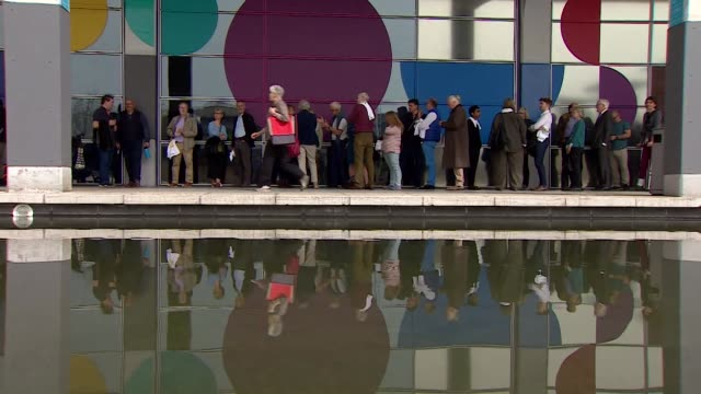 people queuing in bristol for the change uk european election campaign launch - queuing stock videos & royalty-free footage