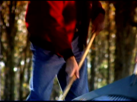 people raking - one mid adult man only stock videos & royalty-free footage