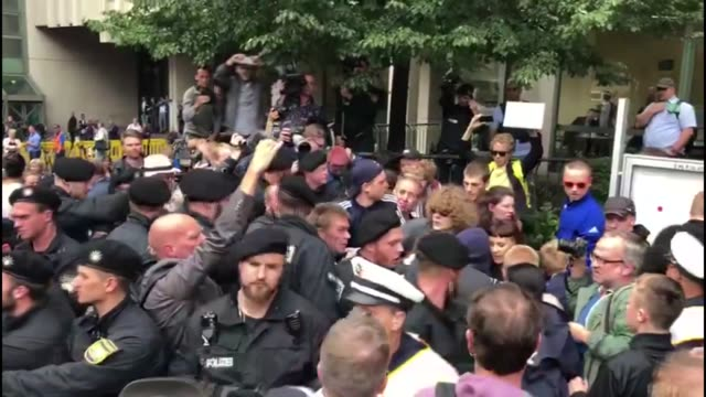 people react after judges announced their verdict in the marathon nsu neonazi murder trial outside the oberlandesgericht courthouse on july 11 2018... - germania video stock e b–roll