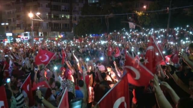 "people react against military coup attempt in antalya turkey on july 16 2016 ""parallel state"" is an illegal organization backed by usbased preacher... - 2016 stock videos & royalty-free footage"