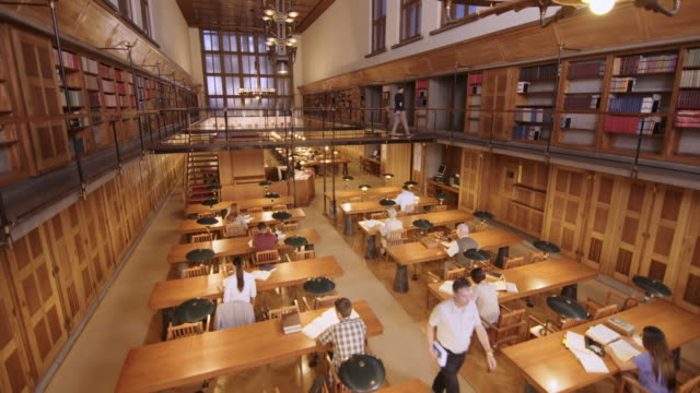 cs people reading and studying in the library - bookshelf stock videos & royalty-free footage