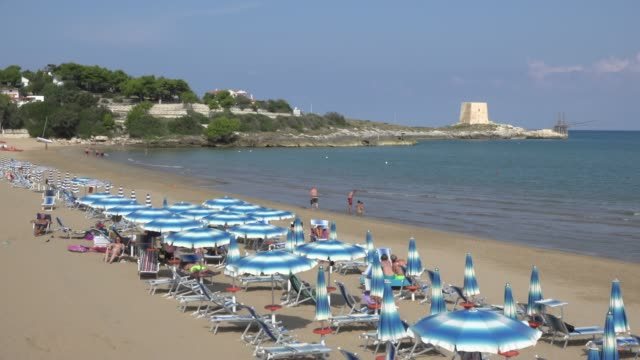 people relax at manaccora beach at the adriatic sea - adriatic sea stock videos & royalty-free footage