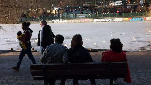 people relax at schlachtensee lake in zehlendorf district during the second wave of the coronavirus pandemic on february 21 in berlin, germany. the... - smiling stock videos & royalty-free footage