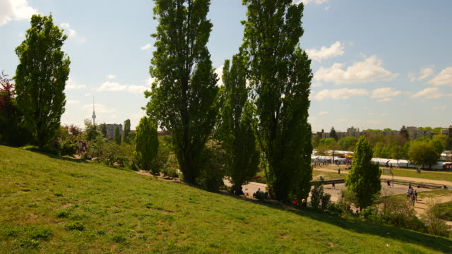 People relax in the Berlin Mauerpark in Summer