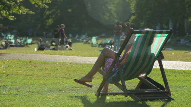 WS People relaxing at St James's Park, Westminster, London, England