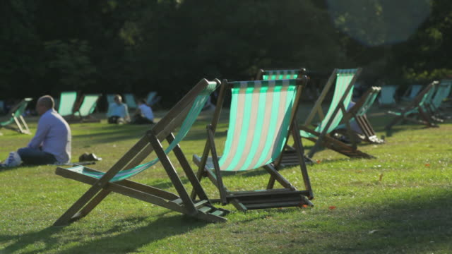 ws people relaxing at st james's park, westminster, london, england - deck chair stock videos & royalty-free footage