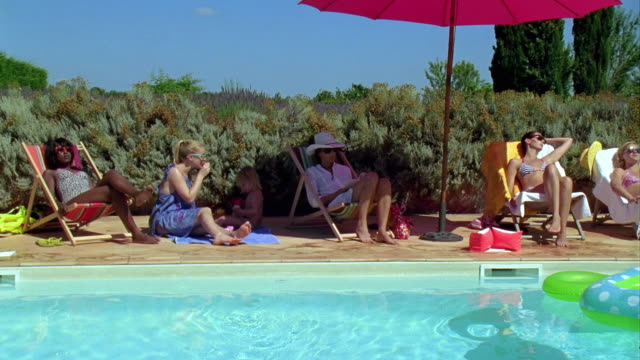 ws, pan, people relaxing at swimming pool, saint ferme, gironde, france - 30 39 years stock videos & royalty-free footage