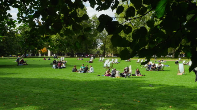 People Relaxing In London St James's Park (UHD)