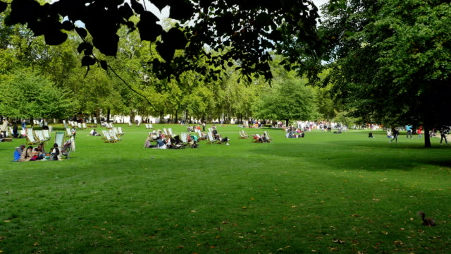 People Relaxing In London St James's Park (4K/UHD to HD)