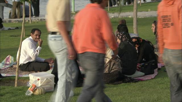 vídeos y material grabado en eventos de stock de ms people relaxing in park by zayandeh river, isfahan, iran - cesta de picnic