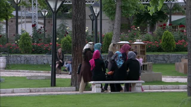 vidéos et rushes de ms people relaxing in park, tehran, iran - iran