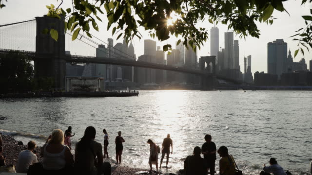 people relaxing in the main street park on the east river in dumbo in brooklyn, new york, with view of the brooklyn bridge and the manhattan skyline. - tourism stock videos & royalty-free footage