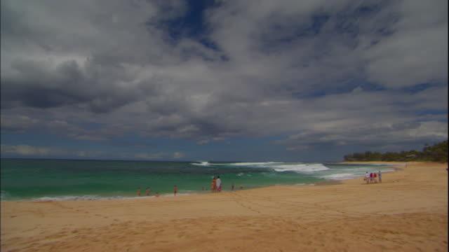 vídeos de stock, filmes e b-roll de ws, pan, people relaxing on beach, honolulu, hawaii, usa - fan palm tree